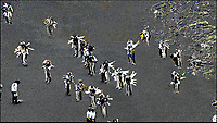 Early Morning Strech and Exercise at Niagara Falls in Shinjuku Chuo Park in Tokyo. Composite of 7 mages taken with a Nikon 1 V3 camera and 70-300 mm VR lens from my hotel room on the 20th floor in the Keio Plaza hotel (aprox. 400 meters distance).<br /> Photoshop, Statistics, Skewness.
