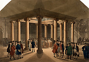 Coal Exchange, Thames Street, London.  A commodity market where coal was traded.  Illustration by Pugin & Rowlandson 'Microcosm of London'  Ackermann, London 1808-1810. Aquatint.
