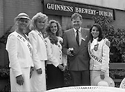 Roses of Tralee at Guinness Brewery..1986.20.08.1986..08.20.1986..20th August 1986..As part of the 50th running of the Rose Of Tralee Festival the thirty Rose contestants were invited to The Guinness Brewery,St James's Gate,Dublin. At the reception in their honour, Mr Pat Healy,Sales Director,Guinness Group Sales,welcomed the roses at the Guinness Reception Centre..Extra: Ms Noreen Cassidy,representing Leeds,went on to win the title of 'Rose Of Tralee'...The U.S.east coast was well represented with 'Roses' from New York,Boston,Chicago and Washington as they are welcomed to Ireland By Mr Brian Brown,Guinness group Sales.