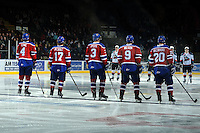 KELOWNA, CANADA, FEBRUARY 15:  The Edmonton OIl Kings line up at the Kelowna Rockets on February 15, 2012 at Prospera Place in Kelowna, British Columbia, Canada (Photo by Marissa Baecker/Shoot the Breeze) *** Local Caption ***
