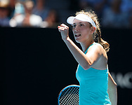 ELISE MERTENS (BEL) macht die Faust und jubelt,Jubel,Emotion,<br /> <br /> <br /> Tennis - Australian Open 2018 - Grand Slam / ATP / WTA -  Melbourne  Park - Melbourne - Victoria - Australia  - 23 January 2018.