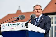 Mark Newall, President of the USGA gives his welcome speech during the Walker Cup Opening Ceremony, Friday at the Royal Liverpool Golf Club, Friday, Sept 6, 2019, in Hoylake, United Kingdom. (Steve Flynn/Image of Sport)