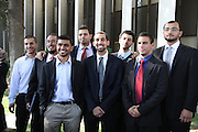 From left to right: Asaad Traina, Aslam Akhtar, Mohammad Qureushi, Shaheen Nassar, Mohamed Abdelgany, Osama Shabaik, Khalid Akari, and Taher Herzallah, eight of the ten Muslim students from the University of California, Irvine, guilty of disrupting a February 2010 speech at the university's campus by Michael Oren, Israeli ambassador to the United States. Orange County Superior Court Judge Peter Wilson sentenced each student to three years of probation, 56 hours of community service, and ordered each to pay $270 in fines.