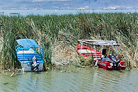 Boats and lake front, Chapala, Jalisco, Mexico. Lake Chapala is the largest body of freshwater in Mexico.