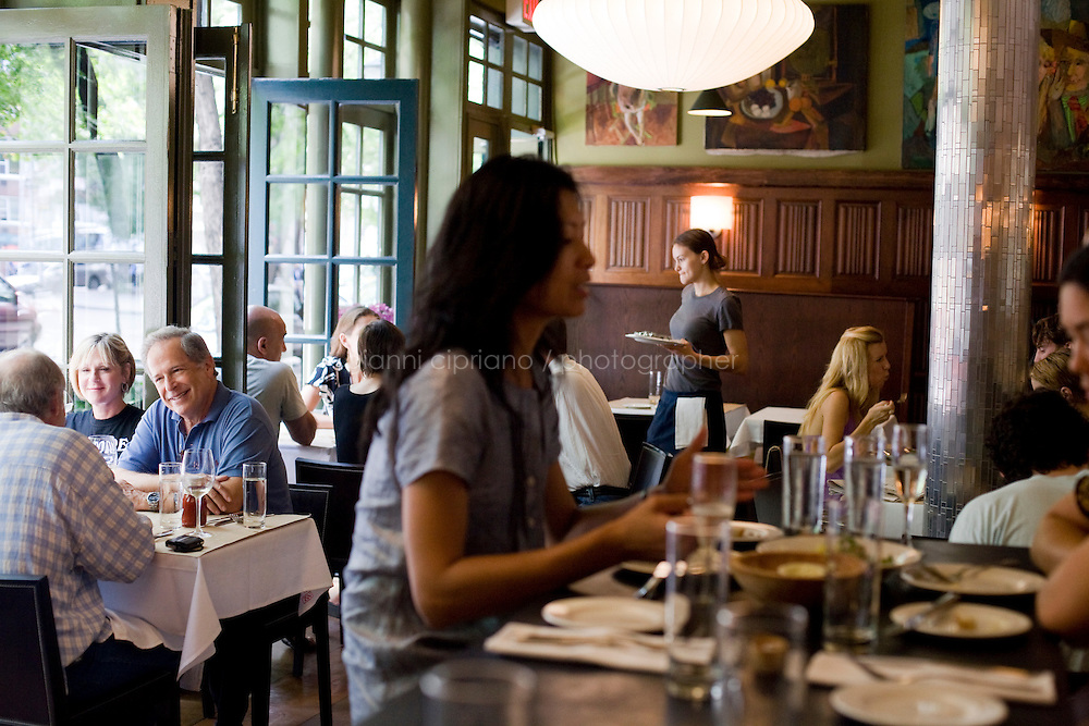 "24 July, 2008. New York, NY. Customers have lunch at the Hundred Acres restaurant and bar in the Village. Vicki Freeman and her husband Marc Meyer, co-owners of the Hundred Acres, opened the restaurant on May 22nd, 2008. ""I wanted to open a great neighborhood restaurant. The Hundred Acres is a sustainable restaurant and 90% of the products we use are organic"" says co-owner Vicki Freeman.<br /> ©2008 Gianni Cipriano for The New York Times<br /> cell. +1 646 465 2168 (USA)<br /> cell. +1 328 567 7923 (Italy)<br /> gianni@giannicipriano.com<br /> www.giannicipriano.com"