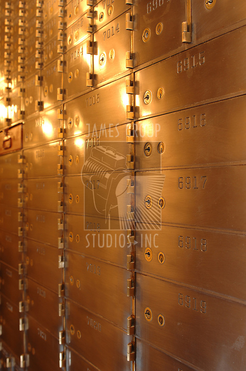 Safety deposit boxes inside a vault
