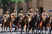 AIF Light horse Soldiers in old World War 1 uniforms march during Brisbane ANZAC day 2005 parade
