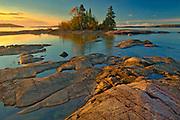 Caron Island and Lake Superior st sunrise<br />Rossport<br />Ontario<br />Canada