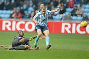 Coventry City Midfielder Joe Cole on the attack during the Sky Bet League 1 match between Coventry City and Bury at the Ricoh Arena, Coventry, England on 13 February 2016. Photo by Dennis Goodwin.