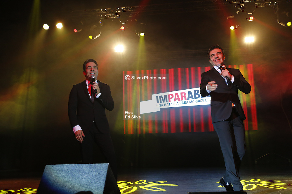 "ANAHEIM, CA - FEBRUARY 25: Actors and comedians Adrian Uribe and Omar Chaparro perform on stage during the presentation of their comedy ""Los Imparables"" at the M3 Live in Anaheim, California on February 25, 2017.  Byline, credit, TV usage, web usage or linkback must read SILVEXPHOTO.COM. Failure to byline correctly will incur double the agreed fee. Tel: +1 714 504 6870."