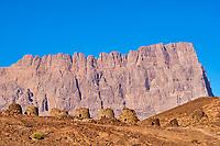 Sultanat d'Oman, gouvernorat de Ad Dhahirah, Wadi Damm, le site archéologiques de Al-Ayn classé Patrimoine Mondial de l'UNESCO, abritent une importante nécropole du IIIe millénaire av. J-C, les tombes en forme de ruches de Al-Ayn avec le Djebel Misht dans les monts Hajar en fond // Sultanate of Oman, Ad Dhahirah region, Wadi Damm, 5000 year old stone tomb at Al Ayn, UNESCO World Heritage Site