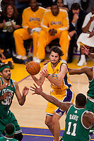 17 June 2010: Guard Sasha Vujacic of the Los Angeles Lakers passes the ball against the Boston Celtics during the first half of the Lakers 83-79 championship victory over the Celtics in Game 7 of the NBA Finals at the STAPLES Center in Los Angeles, CA.