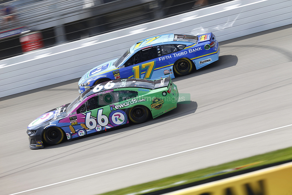 August 12, 2018 - Brooklyn, Michigan, United States of America - Timmy Hill (66) and Ricky Stenhouse, Jr (17) battle for position during the Consumers Energy 400 at Michigan International Speedway in Brooklyn, Michigan. (Credit Image: © Chris Owens Asp Inc/ASP via ZUMA Wire)