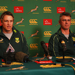 DURBAN, SOUTH AFRICA - JUNE 04, Jean de Villiers with Springbok coach Heyneke Meyer during the South African national rugby team press conference at Kashmir Restaurant on June 04, 2012 in Durban, South Africa<br /> Photo by Steve Haag / Gallo Images