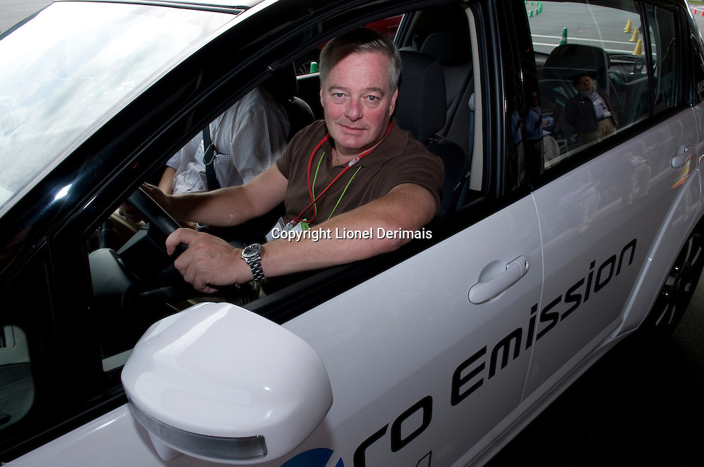 Petri Saraste at the wheel of the Nissan EV-11 electric car in Nissan Grand Drive circuit in Yokohama near Tokyo, Japan. 2009
