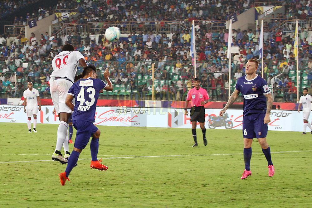 Badara Badji of Delhi Dynamos FC heads for goal during match 6 of the Indian Super League (ISL) season 3 between Chennaiyin FC and Delhi Dynamos FC held at the Jawaharlal Nehru Stadium in Chennai, India on the 6th October 2016.<br /> <br /> Photo by Ron Gaunt / ISL/ SPORTZPICS