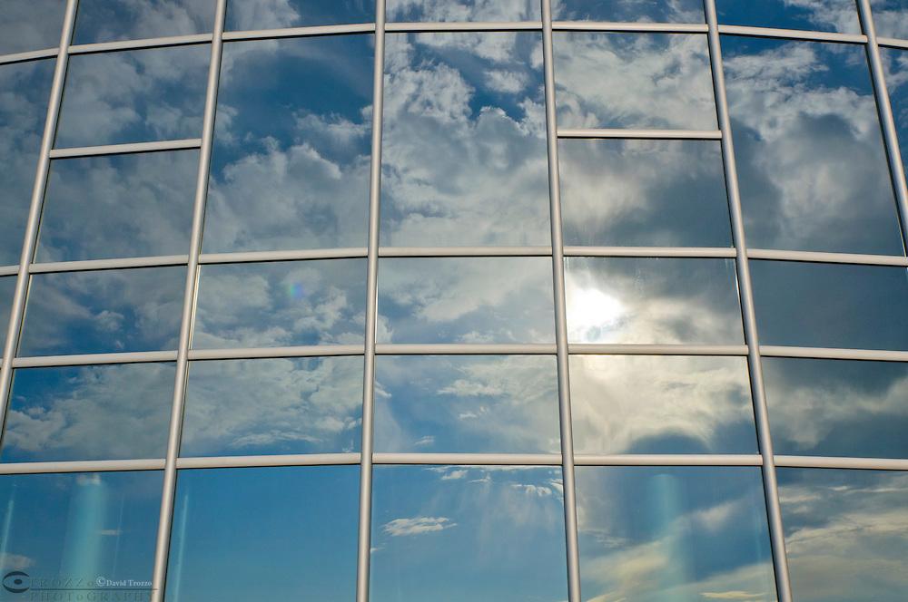 Windows reflecting sunrise at the United Staes Navel Academy, Annapolis, Maryland, USA.
