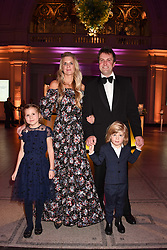 Mr Charlie & Lady Jubie Wigan with their children Aliena and Caius at The Sugarplum Dinner 2017 to benefit the type 1 diabetes charity JDRF held at the Victoria & Albert Museum, Cromwell Road, London England. 14 November 2017.<br /> Photo by Dominic O'Neill/SilverHub 0203 174 1069 sales@silverhubmedia.com