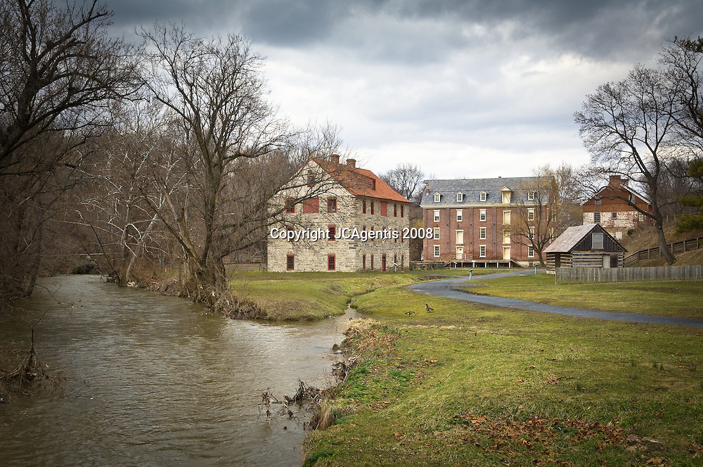 Historic Buildings Bethlehem Pennsylvania Colonial Quarter along the Monocacy Creek
