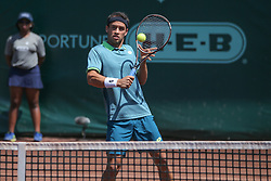 April 11, 2018 - Houston, Texas, U.S. - NICOLAS KICKER (ARG) hits a volley during the second round of the US Men's Clay Court Championship at River Oaks Country Club in Houston. (Credit Image: © George Walker/Icon SMI via ZUMA Press)