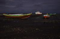 Night shot of boats on the beach at Jericoacoara, Brazil.