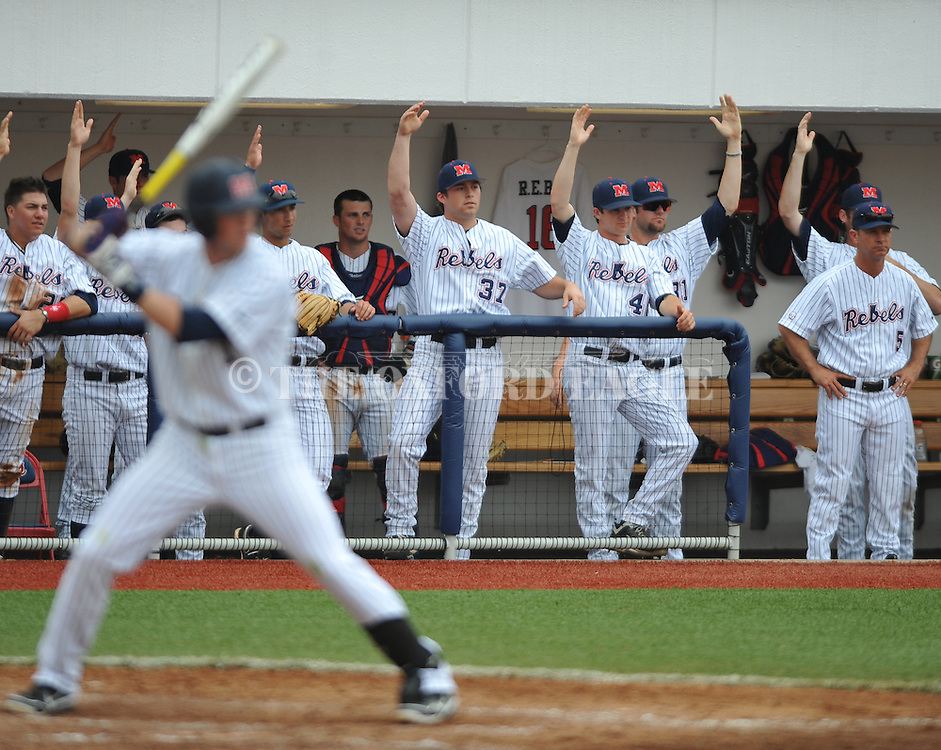 Ole Miss' Preston Overbey (1) hits a home run vs. Auburn at Oxford-University Stadium in Oxford, Miss. on Saturday, March 17, 2012.  (AP Photo/Oxford Eagle, Bruce Newman)