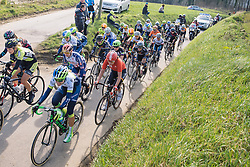 Peloton aren't far behind race leader Jessie Daams - 2016 Omloop het Nieuwsblad - Elite Women, a 124km road race from Vlaams Wielercentrum Eddy Merckx to Ghent on February 27, 2016 in East Flanders, Belgium.