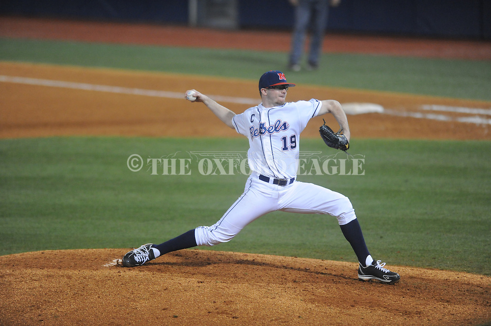Ole Miss' Bobby Wahl (19) pitches vs. Lipscomb at Oxford-University Stadium in Oxford, Miss. on Friday, March 8, 2013. Ole Miss won 10-1.
