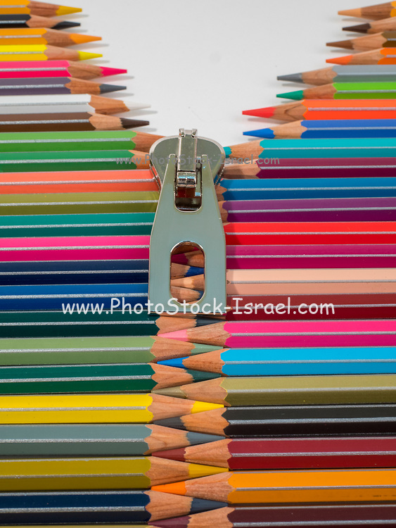 Sharpened coloured pencil crayons with a zip