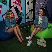 PITCH Stratford, London, England, UK. Metro editor are attend the private Pitch Open Airs Cinema. The unique new space is a design-led open-air cinema, drinking terrace and street food venue set to revolutionise the nightlife scene in Stratford on the 13th July 2017. The venue will accommodate 400 sun-worshippers beneath its 80's/90's inspired canopy, which features break-out areas including retro pyramid booths and an outdoor cinema screen.