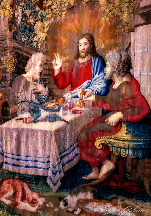 """""""Dinner at Emmaus - Gallery of the Tapestries Vatican Museum""""…<br /> <br /> The gospel according to St Luke (24:13-32) tells of the meeting of two disciples with the resurrected Christ. It is only during the meal that his companions recognize him in the way he blesses and breaks the bread. But with that, the vision of Christ vanishes. Flemish tapestries, realized in Brussels by Pieter van Aelst's School from drawings by Raphael's pupils, during the pontificate of Clement VII hang on the walls. They were first shown in the Sistine Chapel in 1531 and arranged for the exhibition in the Gallery in 1838. The Tapestries were woven with silk, wool, and gold after Raffaello's death. They are known as Della Scuola Nuova (New School's) as opposed to the Scuola Vecchia (Old School's) now in the Pinacoteca Vaticana. Of the original twelve tapestries, eleven remain of which nine are on display since 1838. """"Adoration of the Shepherds"""" is one of many I photographed with great amazement. Each angle of view changes the perspective of each Tapestry. The artistic creativity throughout history shrouds one with pure awe and the understanding of God's divine grace upon the shoulders of these great artists. One can find a plethora of more than five miles of great artistic inspiration on the Vatican Museum walls."""