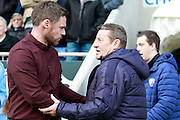 Scunthorpe United's manager Graham Alexander and Chesterfield's manager Danny Wilson during the EFL Sky Bet League 1 match between Chesterfield and Scunthorpe United at the b2net stadium, Chesterfield, England on 22 October 2016. Photo by Richard Holmes.