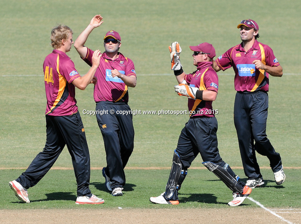 The Northern Knight's celebrate a wicket in the Ford Trophy One Day cricket match, Knights v Firebirds, Bay Oval, Mt Maunganui, Thursday, January 01, 2015. Photo: Kerry Marshall / photosport.co.nz