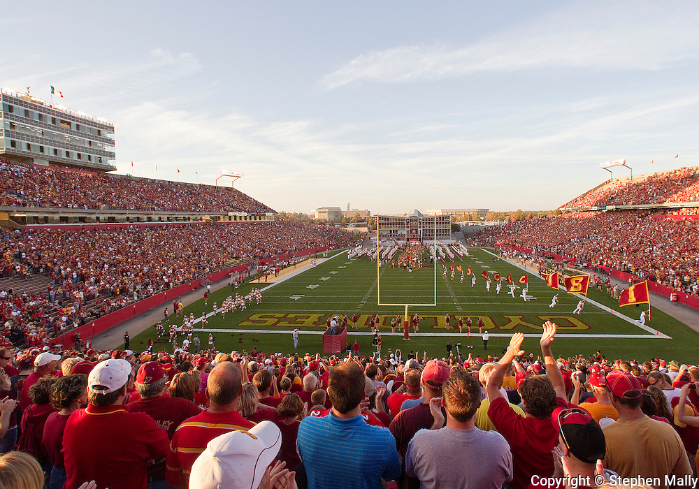 October 9 2010: Iowa State fans cheer as the team takes the field before the first half of the NCAA football game between the Utah Utes and the Iowa State Cyclones at Jack Trice Stadium in Ames, Iowa on Saturday October 9, 2010. Utah defeated Iowa State 68-27.