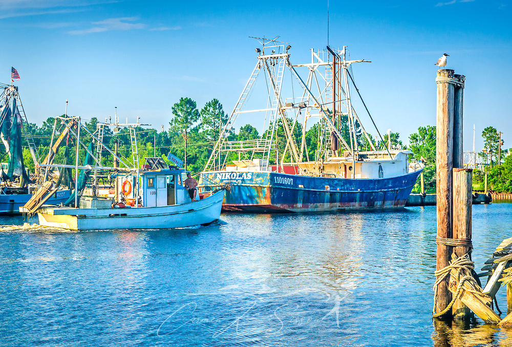 "A shrimp boat passes another shrimp boat, ""Nikolas,"" in Bayou La Batre, Alabama, May 9, 2015 (Photo by Carmen K. Sisson/Cloudybright)"