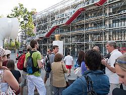 Crowd outside Pompidou Centre, Paris, France