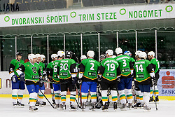 Team Olimpija during Humanitarian hockey derby of legends between Olimpija and Jesenice, on 7 March 2014, in Hala Tivoli, Ljubljana, Slovenia. Photo by Urban Urbanc / Sportida.com