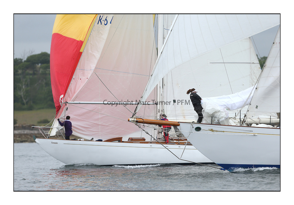 Day one of the Fife Regatta, Round Cumbraes Race.<br /> Sonata, Patrick  Caiger-Smith, GBR, Bermudan Sloop, Wm Fife 3rd, 1950 and Latifa, 8, Mario Pirri, ITA, Bermudan Yawl, Wm Fife 3rd, 1936<br /> <br /> * The William Fife designed Yachts return to the birthplace of these historic yachts, the Scotland&rsquo;s pre-eminent yacht designer and builder for the 4th Fife Regatta on the Clyde 28th June&ndash;5th July 2013<br /> <br /> More information is available on the website: www.fiferegatta.com