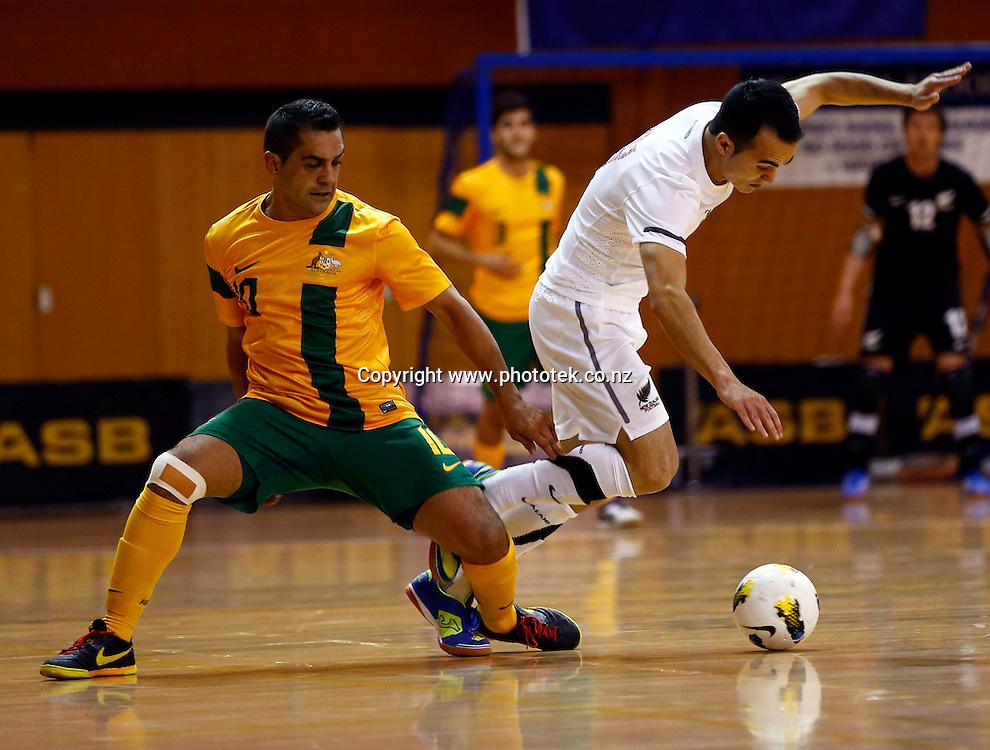 Futsal Roos Lachlan Wright beats Futsal Whites Marvin Eakins. ASB Trans Tasman Cup, Futsal Whites v Futsal Roos, ASB Stadium, Kohimarama, Friday 21st September 2012. Photo: Shane Wenzlick