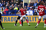 Bristol City FC vice captain Josh Brownhill battling with Morgan Fox of Sheffield Wednesday during the EFL Sky Bet Championship match between Sheffield Wednesday and Bristol City at Hillsborough, Sheffield, England on 22 December 2019.