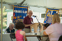 Dexter Willson welcomes the crowd for the 70th Anniversary celebration of the Kiwanis Pool in St. Johnsbury Vermont.  Karen Bobotas / for Kiwanis International