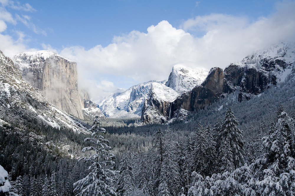 One February we were fortunate enough to spend a night in Yosemite after an intense winter storm. The next day the storm lifted, the clouds lifted revealing a magical landscape. If you ever have a chance visit Yosemite in the winter.