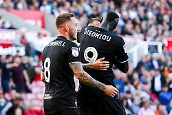 Josh Brownhill of Bristol City celebrates with his teammates after a Stoke City own goal to make it 1-2 - Rogan/JMP - 14/09/2019 - Bet365 Stadium - Stoke, England - Stoke City v Bristol City - Sky Bet Championship.