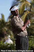 Fiji's Vijay Singh works out on the driving range after a practice round prior to The 2005 Sony Open In Hawaii. The event was held at The Waialae Country Club in Honolulu.