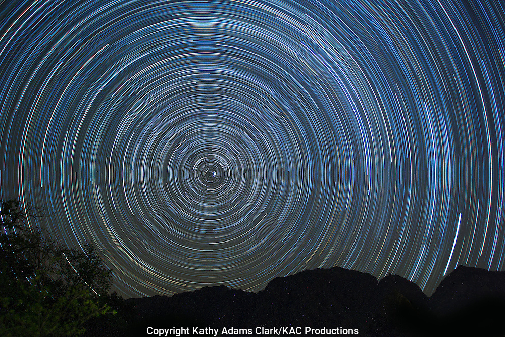 Star Trail, or light left behind by the stars as the earth rotates at night. Big Bend National Park has some of the darkest skies in the lower 48 states thanks to efforts to reduce light pollution.