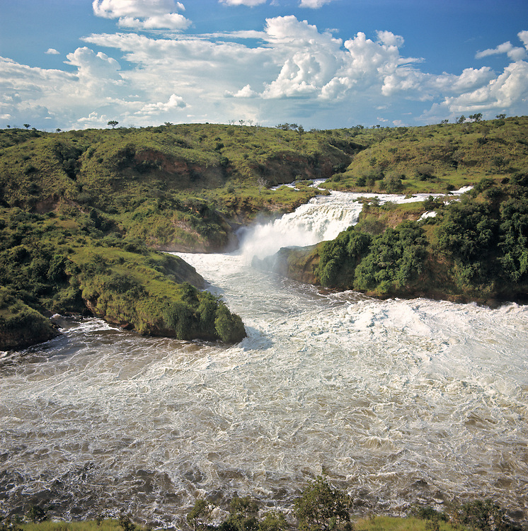 The Victoria Nile creates Murchison Falls in Uganda as it flows downstream.