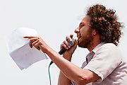 02 MAY 2009 -- PHOENIX, AZ: Zack de la Rocha, lead singer for Rage Against the Machine, speaks out against Sheriff Arpaio Saturday. About 1,500 people opposed to Sheriff Joe Arpaio's treatment of prisoners and his high profile crime suppression anti-undocumented raids, marched from his office to downtown Phoenix to the jail complexes on Durango in south Phoenix Saturday. Photo by Jack Kurtz