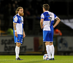 Bristol Rovers' Stuart Sinclair and Bristol Rovers' Lee Mansell cuts dejected figures as they concede a goal - Photo mandatory by-line: Dougie Allward/JMP - Mobile: 07966 386802 - 19/12/2014 - SPORT - football - Bristol - Memorial Stadium - Bristol Rovers v Gateshead  - Vanarama Conference