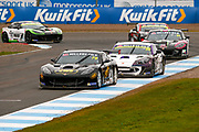 Colin White(GBR) CWS 4x4 Spares leads the chasing pack  during the Millers Oil Ginetta GT4 Supercup Championship at Knockhill Racing Circuit, Dunfermline, Scotland on 15 September 2019.
