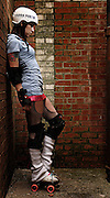 "Audra Laughlin aka ""Farra Fubar"" of the Red Dirt Rebellion Roller Girls banked track roller derby team"